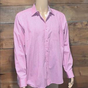 Johnston & Murphy Mens Pink Dress Shirt SZ.L